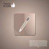 在背景的铅笔按钮 免版税库存照片