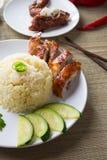 在背景的鸡米,亚洲食物 库存照片