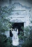 在背景老房子的鬼魂 免版税图库摄影