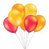 在背景被设置隔绝的传染媒介红色橙黄色气球 免版税库存图片