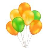 在背景被设置隔绝的传染媒介绿色橙黄色气球 皇族释放例证