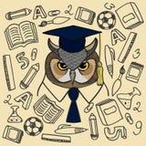 在背景被绘的学校用品的色的猫头鹰 免版税库存照片