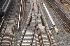 在背景铁路视图之上 库存图片