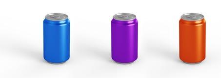 在背景隔绝的铝罐大模型 330ml铝罐子苏打嘲笑 库存图片