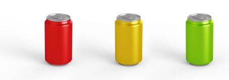 在背景隔绝的铝罐大模型 330ml铝罐子苏打嘲笑 图库摄影