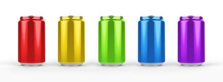 在背景隔绝的铝罐大模型 330ml铝罐子苏打嘲笑 库存照片