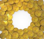 在背景隔绝的3D Bitcoins小组 库存例证