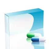 在背景隔绝的药片的水泡的传染媒介空白的白色包裹箱子 模板包裹烙记的箱子设计与胶囊 免版税图库摄影