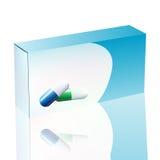 在背景隔绝的药片的水泡的传染媒介空白的白色包裹箱子 模板包裹烙记的箱子设计与胶囊 免版税库存图片