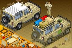在背面图的等量徒步旅行队吉普 免版税库存图片