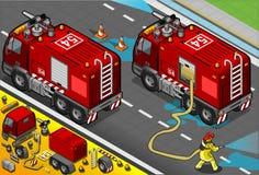在背面图的等量消防队员槽车 库存图片