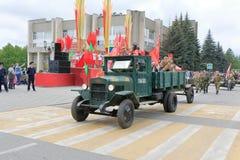 在胜利天游行的罕见的卡车ZIS-5V 免版税库存照片