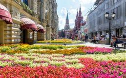 在胶附近的花节日在莫斯科 免版税图库摄影
