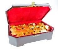 在胸口的金黄硬币 免版税库存照片