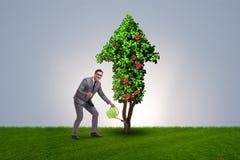 在能承受的绿色发展概念的商人 免版税库存图片