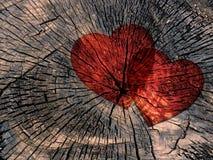 在脏的木背景的两红色纸心脏 库存图片