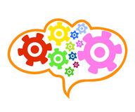 在脑子的另外颜色钝齿轮链子 免版税库存图片