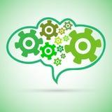 在脑子的绿色钝齿轮链子 免版税库存图片