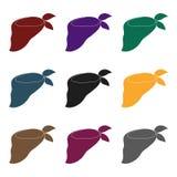在脖子的蓝色绷带秀丽的 围巾和披肩选拔在黑样式传染媒介标志股票例证的象 免版税库存图片