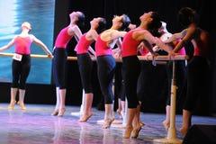 在脚尖古典芭蕾腿训练 免版税库存图片