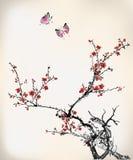 蝴蝶和腊梅 免版税库存照片
