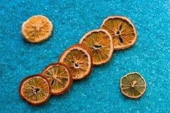 在腌制槽用食盐的干桔子 库存图片