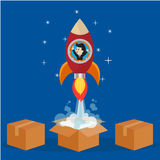 在腾飞的火箭的商人在箱子外面 皇族释放例证