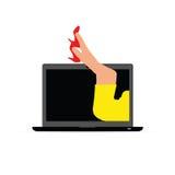 在膝上型计算机例证的妇女腿 图库摄影