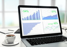 在膝上型计算机屏幕、咖啡和其他通入上的企业图表 免版税库存照片