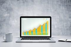 在膝上型计算机屏幕上的企业图有咖啡杯和日志的在骗局 免版税库存照片