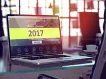 2017年在膝上型计算机屏幕上的概念 3d 免版税库存图片