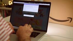 在膝上型计算机成交的亚马逊中国头等天人购物 股票录像