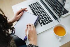 在膝上型计算机文字前面的一名妇女概要在笔记薄 库存图片