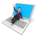 在膝上型计算机的商人意味全球资讯网和企业 免版税库存图片