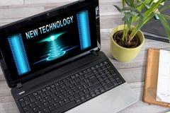 在膝上型计算机的新技术概念 库存图片