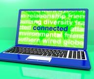 在膝上型计算机的被连接的定义在线显示 免版税库存图片