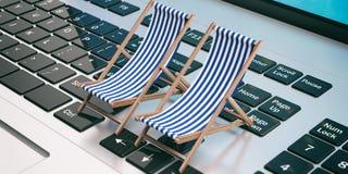 在膝上型计算机的轻便折叠躺椅 3d例证 免版税库存照片