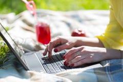 在膝上型计算机键盘的女性手工在野餐 库存图片