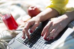 在膝上型计算机键盘的女性手工在野餐 免版税库存照片