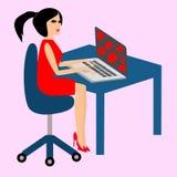 在膝上型计算机附近的严肃的女孩 免版税库存图片