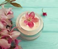 在自创木的背景的奶油色化妆润湿的疗法自然萃取物产品秀丽木兰花 图库摄影