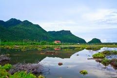在自然中的村庄 免版税库存图片