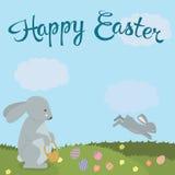 在自然例证的逗人喜爱的复活节兔子 对卡片、横幅、祝贺和网站 免版税图库摄影