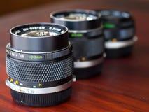 在自然光一起组成的不同的OM透镜 免版税图库摄影