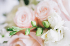 在自然光的艺术新娘花束 库存图片