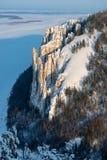 在自然公园Lenskie Stolby莉娜柱子的石柱子,雅库特,俄罗斯 免版税库存照片