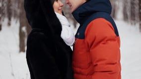 在自然冬天背景的年轻爱恋的夫妇 股票录像