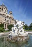 在自然历史博物馆前面的喷泉 免版税库存图片