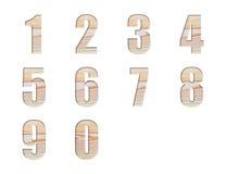在自然木纹理的字母表设计汇集集合类型 免版税库存图片
