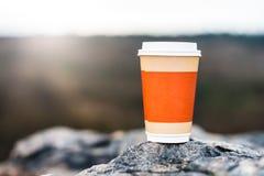 在自然本底的咖啡杯 免版税库存照片